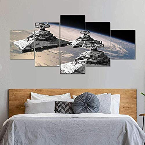 5 pieces canvas painting wall art 5 Piece Canvas Artwork Modern Framed Gallery-wrapped Framed HD Star Wars Imperial Star Destroyer Home Decor Posters and Prints HD Print Modular Pictures Ready to Hang