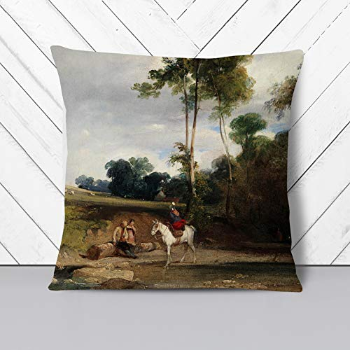 Big Box Art Cushion and Cover - Richard Bonington Horse Halt - Single Square Throw Pillow - Soft Faux Suede Material - Double-sided - 40x40 cm