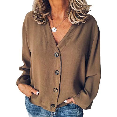 Camisa de Mujer Moda Estilo Europeo y Americano Primavera y Verano Crdigan de Manga Larga Camisa de Gasa con Cuello en V y botn de Moda 3XL