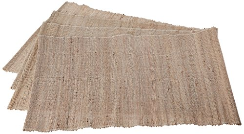 Leaf & Fiber Hand Made All Natural Sustainable and Eco-Friendly Placemats, Banana Fiber and Cotton, Natural, Set of 4