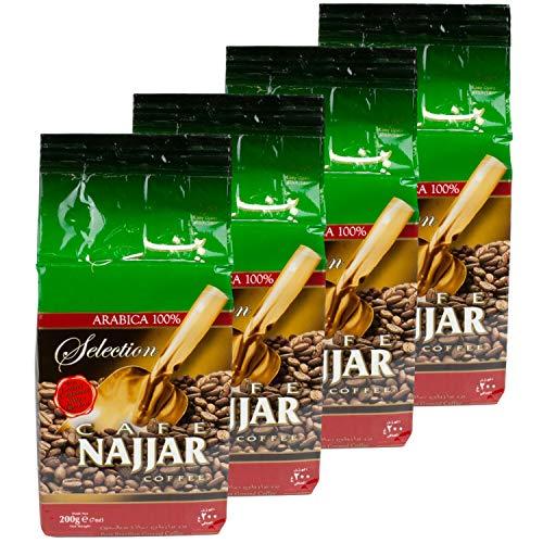 Najjar - Arabischer Mokka Kaffee gemahlen mit Kardamom im 4er Set á 200 g Packung