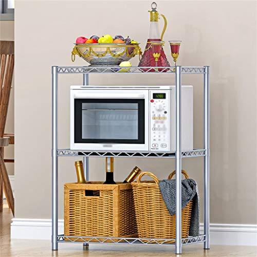 WWJHH-Kitchen shelf Estante de Cocina para microondas con diseño de Malla antioxidante y anticorrosión, Color Gris Plateado, 22 x 13.7 x 31.4 Pulgadas