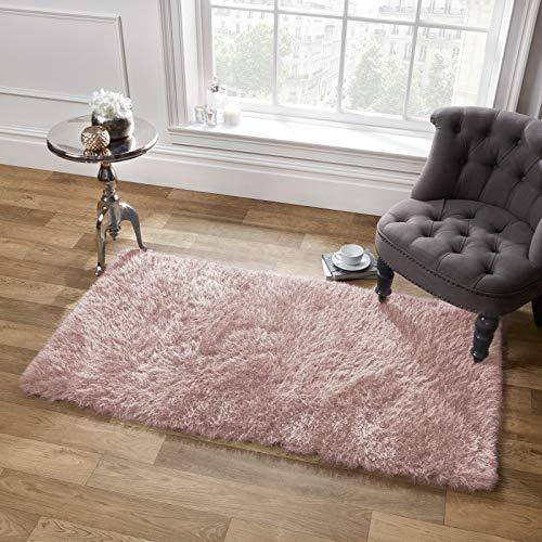 Sienna - Alfombra de Pelo Largo (5 cm, 120 x 170 cm, sintético, poliéster, algodón Rosa, 120 x 170 cm)