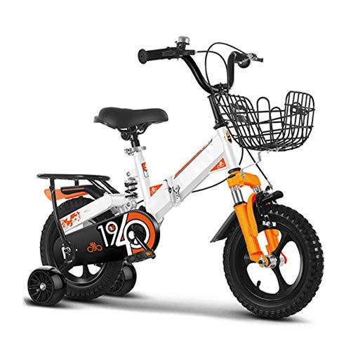 Kinder Fahrrad Mit Blitz Ausbildung Räder, Aluminiumlegierung Mountainbike, Erweitern Mountainbike Reifen, Komfortabel Falten, Zum 2-10 Jahre Alt Jungen Mädchen, Orange,18 inch