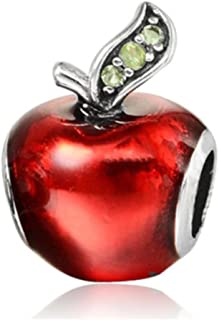 J&M Red Enamel Apple with Green Crystals Charm Bead for Bracelets