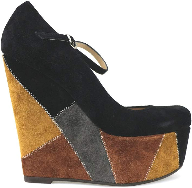 GIANNI MARRA Wedges-Sandals Womens Suede Black