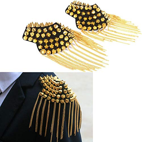 1 paar klinknagel ketting Epaulet Mode Schouderborden Badge, Fashion Rivet Fringed Epaulettes, Chain Tassel Button (goud)