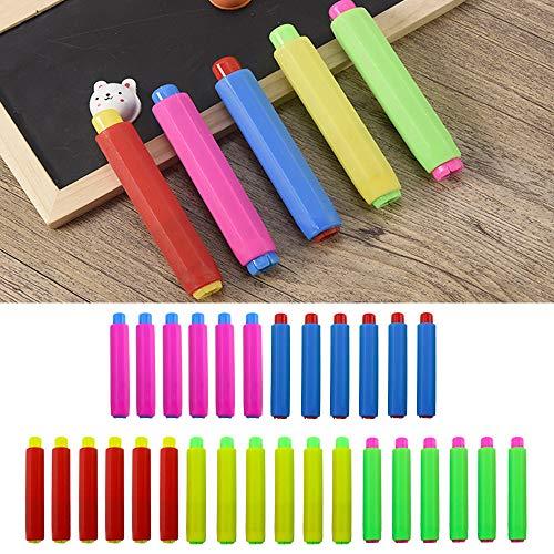 "Etmact 30pcs Colored Plastic Blackboard Adjustable Chalk Clip Chalk Holder for Teachers Kids School Office Drawing Board, 5 color, 3.7"" x 0.6"" Chalk Holder Chalk Board Drawing Board Colored Clips"