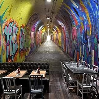 Wall Mural Graffiti Photo Wallpaper 3D Stereo Tunnel Channel Bar KTV Restaurant Background Wallpaper KTV Bar Mural Corridor Wallpaper Wall art-200X140CM
