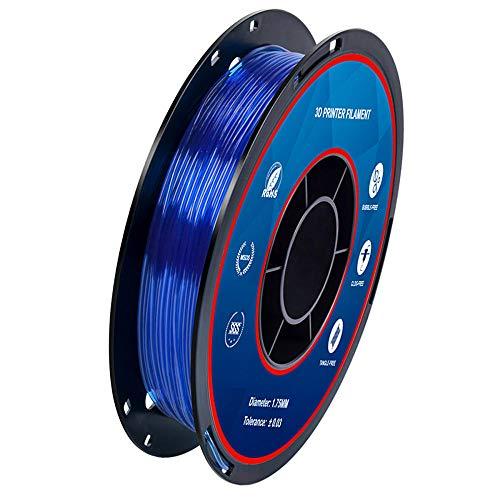 TPU-Elastomerfilament 1,75 mm, 3D-Druckerfilament 0,5 kg, Maßgenauigkeit +/- 0,02 mm-Transparent blau.