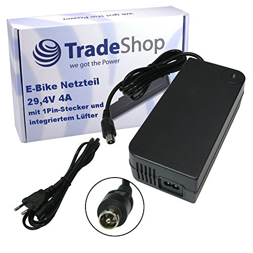 Netzteil Schnell-Ladegerät Ladekabel mit Lüfter 29,4V 4A für 24V Akkus mit 10,45mm x 8,50mm 1Pin-Anschluss Stecker für e-Bike Akkus von Alu-Rex