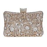 Selighting Bolso de Noche de Lujo Bolso de Hombro Mujer Glitter Diamond Hard Shell Clutches Embrague Bolsos de Diamantes de imitación Hechos a Mano para Boda/Fiesta/Baile (dorado)