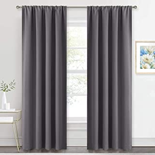 RYB HOME Blackout Curtains Draperies - Rod Pocket Top Window Curtain Panels, Light UV Block Insulated Drapes for Kids Nurs...