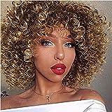 BA Sha - Peluca corta sintética, rizada, castaña y rubia, mechas californianas, pelo afro, con gorro
