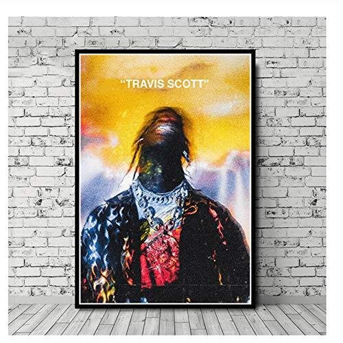 Suuyar Travis Scott Musik Star Rap Rapper Rodeo Astroworld Poster Wandkunst Bild Drucke Leinwand Malerei Für Home Room Decor-50x70 cm Kein Rahmen