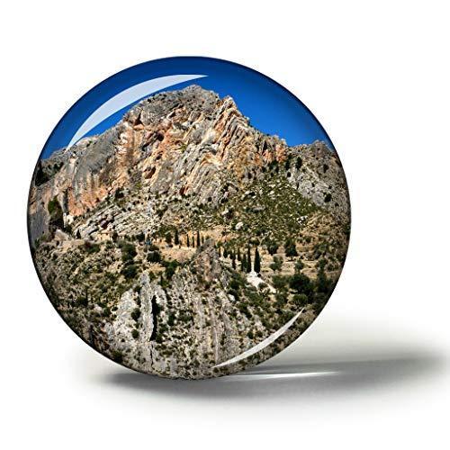 Hqiyaols Souvenir España Teruel Imanes Nevera Refrigerador Imán Recuerdo Coleccionables Viaje Regalo Circulo Cristal 1.9 Inches