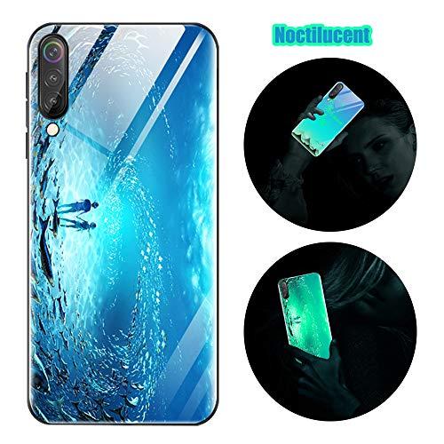 Cover Samsung Galaxy A50, Custodia Samsung Galaxy A50, Cover Silicone Nottilucenti Luminoso Cristallo Case Vetro Temperato 3D Fluorescente Ultra Sottile Protettiva Antiurto Backcover Oceano Blu