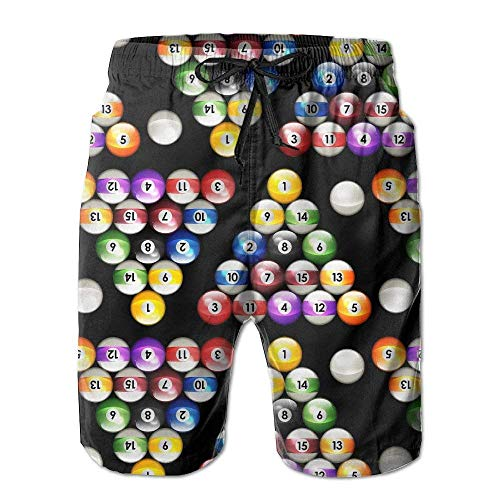 XIAOYI Man Summer Pool Balls Billiards Colors Pattern Quick Dry Beach Shorts Board Shorts Swim Trunks Cargo Shorts - L