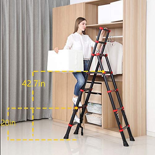 Extension Ladder 6 Foot Step Ladder Telescopic Aluminum 5+7 Ladder Multi Position, Adjustable and Folding Ladder A-Frame with Hand Rails and Safety-Lock, Anti-Slip Pedal Lightweight, 330 Lbs Capacity