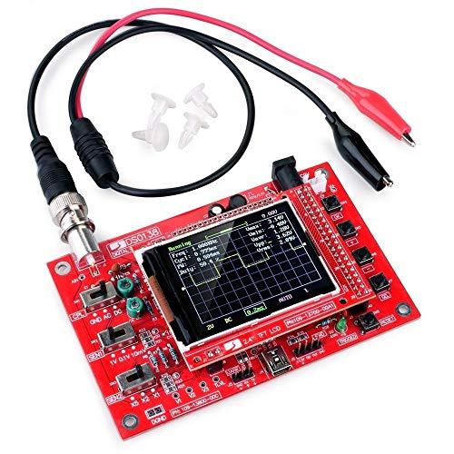 """DSO138 ARM DIY Kit Digitales Frequenzoszilloskop 2,4\""""mit Sonde STM32 Prozessor geschweißt, Zubehör - Schwarz & Rot"""