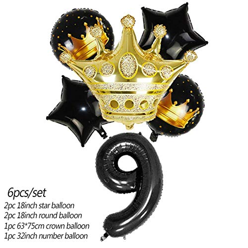 YUANCHENG 6pcs/Set Black Gold Number Crown Foil Balloons Star Crown Helium Balloon Kids Birthday Party Baby Shower Decoration,Black-9