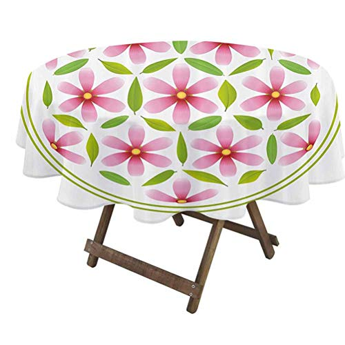 prunushome Floral Tabletop Cloth Flower of Life with Florets and Leaves Inside Circle Cosmos Beauty Image for Dining, Kitchen, Wedding and Parties Light Pink Fern Green | 54' Round