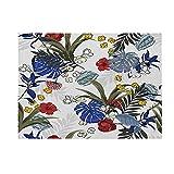 Lushi Tropical animales y plantas, plantas geométricas verdes, manteles individuales de algodón y lino, alfombras de mesa aislantes antideslizantes, posavasos