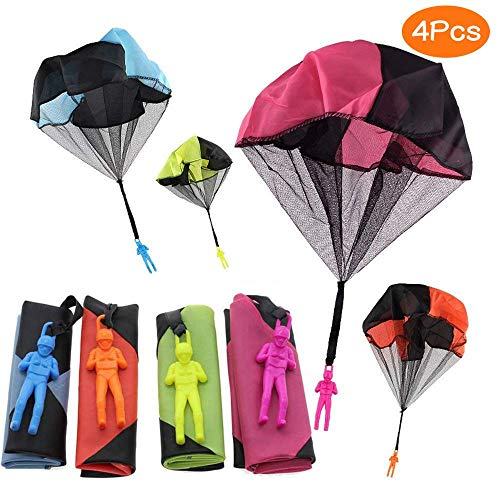 Sunshine smile inder Hand werfen Fallschirm, 4 × Hand werfen Fallschirm Spielzeug,Kinder Fallschirm,Spielzeug Kinder! (4PCS-1)