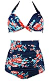 COCOSHIP Red Pink & Navy Blue Antigua Floral Halter High Waisted...