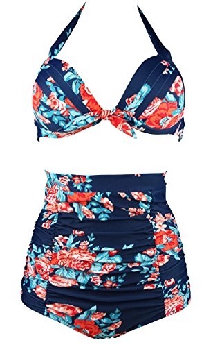 COCOSHIP Red Pink & Navy Blue Antigua Floral Halter High Waisted Two Piece Bikini Gorgeously Dressed Vintage Bathing Suit XXXXL(US16)