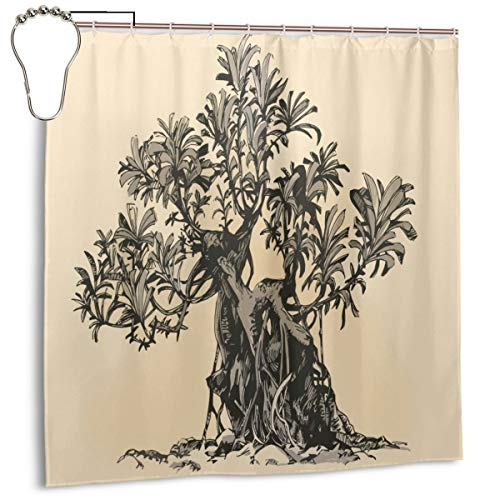 GAGH Shower Curtain with Beaded Rings, Bonsai Tree Bathroom Fabric Decorative Bathroom Accessories,Water Proof,Reinforced Metal Grommets 72 x 72 inches