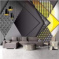 Iusasdz 北欧の人格幾何学3D壁紙リビングルームテレビソファ背景ヨーロッパの防水壁布家の装飾フレスコ画-250X175Cm