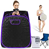 Hicient Steam Sauna Individual Home Spa-Indoor Portable Sauna Set Includes a Foot Pad,Remote Control, Folding Canvas Chair, Precise Timer (31.5 X 31.5 X 40.6 inch, Purple)