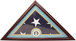 DECOMIL - AIR FORCE Flag Display Case Box, 5x9 Burial - Funeral - Veteran Flag Elegant Display Case with Flat Base, Solid Wood, Cherry Finish