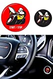 REVION Autoworks Scat Pack Starter Button Decal Overlay Compatible with 2015-2019 Dodge Charger/Challenger | SRT Style Start Stop Sticker Emblem | Push to Start Badge Cover Scatpack Accessories (red)