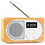 ENUOSUMA Versatile Portable Bluetooth Speaker with Digital Alarm Clock & FM Radio, Built with TF Card Slot, USB Port, MIC & AUX Input, BS22 (Wood Grain)