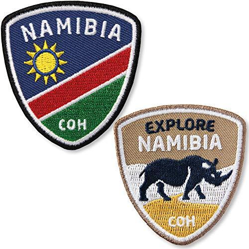 Club of Heroes 2er-Set Namibia Aufnäher 58 x 62 mm/Afrika Reise Safari Flagge Namib Nationalpark Nashorn/Aufbügler Flicken Patch zum Aufnähen Aufbügeln Kleidung/Reiseführer Tansania Kenia Südafrika
