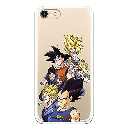 Funda para iPhone 7 - iPhone 8 - iPhone SE 2020 Oficial de Dragon Ball Goku y Vegeta Siluetas para Proteger tu móvil. Carcasa para Apple de Silicona Flexible con Licencia Oficial de Dragon Ball.