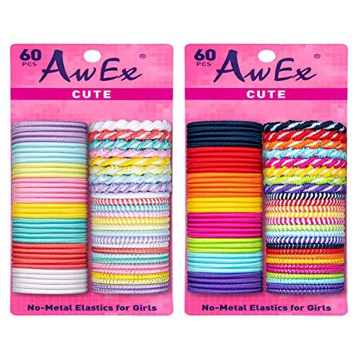 AwEx Bunte Haargummis für Mädchen mit feinem Haar, 120 PCS, kleine Schleife, mehrfarbig und mehrfach gemustert, sortiert in hell und pastell