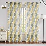 Beauoop Yellow Gray Sheer Window Curtains Moroccan Tile Print Panels Quatrefoil Linen Texture Grommet Drapes for Farmhouse/Living Room/Kitchen Lattice Window Treatment Set, 50 x 95 Inch (2 Panels)