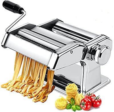 150 Pasta Machine, All in one 7 Thickness Settings Pasta Maker Machine, Stainless Steel Manual Roller Pasta Maker for Spaghetti Linguine Fettuccine Lasagne, Includes Dough Cutter & Hand Crank