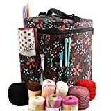 Large Capacity/Portable/Lightweight Yarn Storage Knitting Tote Organizer Bag with Shoulder Strap Handles Looen W/Pockets for Crochet Hooks & Knitting Needles … (Brown)