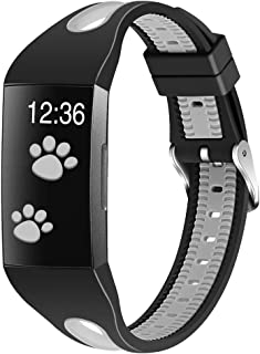 Joyozy Sport Waterproof Bands Compatible with Fitbit Charge 3&Fitbit Charge 3 SE Smartwatch,Silicone Small Breathable Soft Strap Replacement Wristbands with Air Holes for Women Men Black&Gray