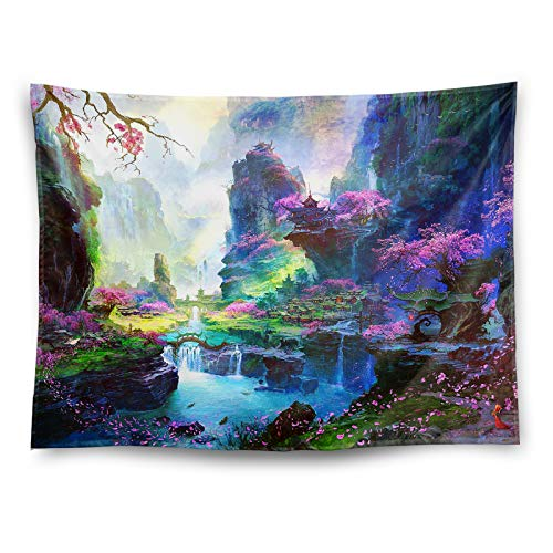 "Forest Tapestry Wall Tapestry for Bedroom Decor Mountain Tapestry Fairy Psychedelic Pink Flower Wall Decor Aesthetic Tapestry Simple Modern Living Room Decor Wall Art Trippy Wall Blanket(80""X60"")"