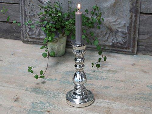 Chic Antique Kerzenhalter, Kerzenständer Bauernsilber, Glas