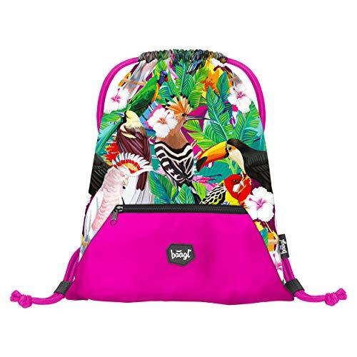 Baagl Turnbeutel für Mädchen - Schuhbeutel für Kinder - Schule und Kindergarten Sportbeutel, Sportsack (Tukan)
