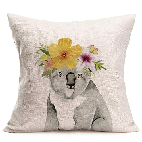 Koala Logo Throw pillowcase Animal Cute Koala with Garland Rustic Farmhouse Pillowcase Cushion Cover for Home Sofa pillowcase 18'x18'