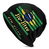 Gorro Beanie para Hombre Jiu-Jitsu brasileño Sombrero de Punto con Bandera Americana Sombreros Suaves y cálidos Negro