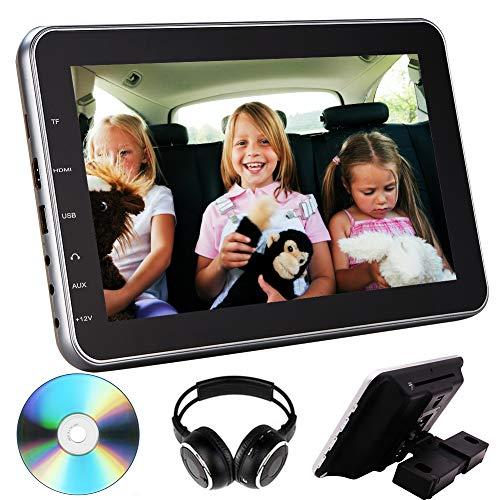 Universal 10.1 inch Car Headrest DVD Player Mount Monitor-USB/SD IR/FM Transmitter Vehicle Multimedia Audio Video Entertainment w/HDMI, Wide TV LCD Screen Mounting Bracket & Wireless Headphones