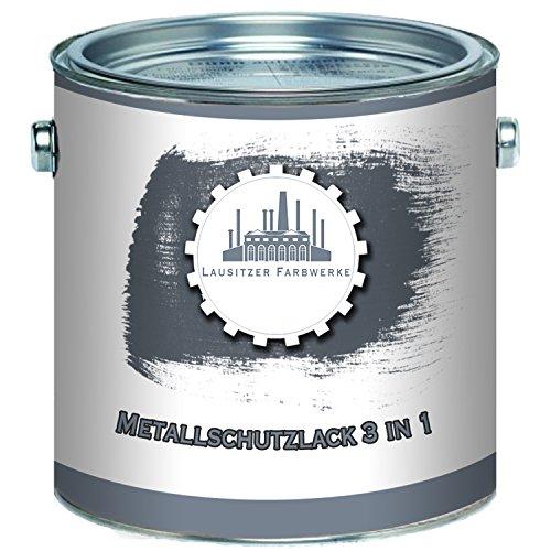 Lausitzer Farbwerke Metallschutzfarbe 3in1 traditioneller Metallschutzlack 3-in-1 Metallfarbe Metalllack Farbe für Metall Stahl Eisen Zink Aluminium (1 L, Weiß (RAL 9010))